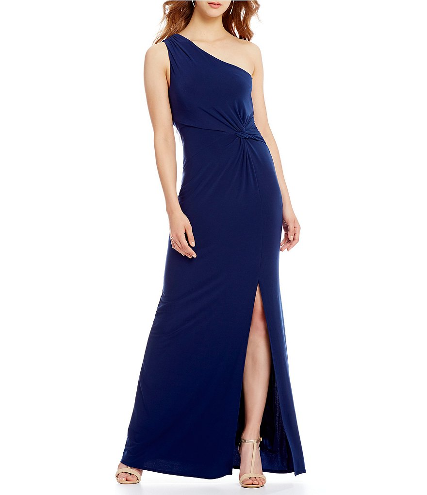 Laundry by Shelli Segal One Shoulder Front Slit Gown