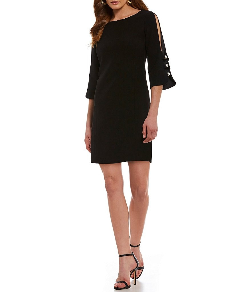 Laundry by Shelli Segal Pearl Button Shift Dress