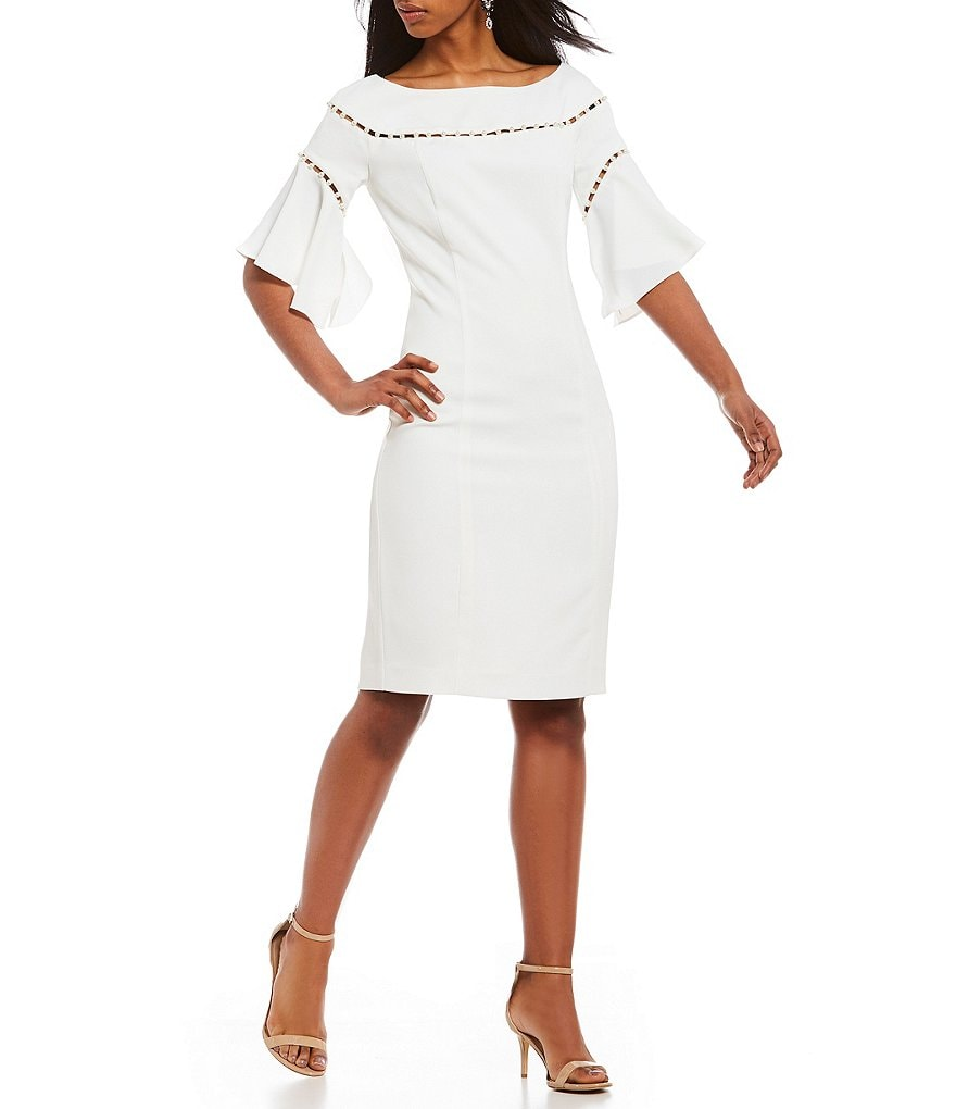 Laundry by Shelli Segal Pearl Strand Flutter Sleeve Crepe Dress