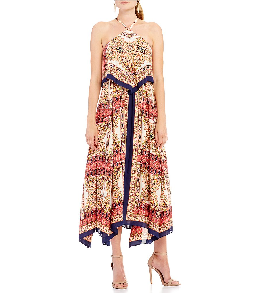 Laundry by Shelli Segal Print Layered Maxi Dress