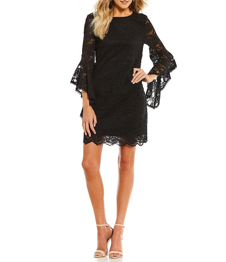 Laundry by Shelli Segal Tiered Lace Ruffle Sleeve Dress