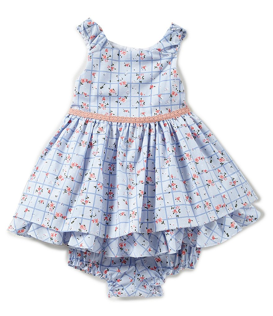 Laura Ashley London Baby Girl 12-24 Months Check Printed Bow Shoulder Dress