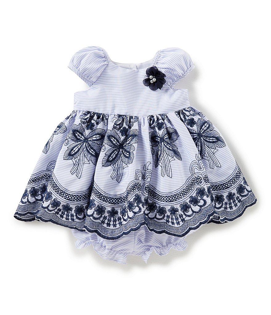 Laura Ashley London Baby Girls Newborn-24 Months Floral-Applique Embroidered Dress