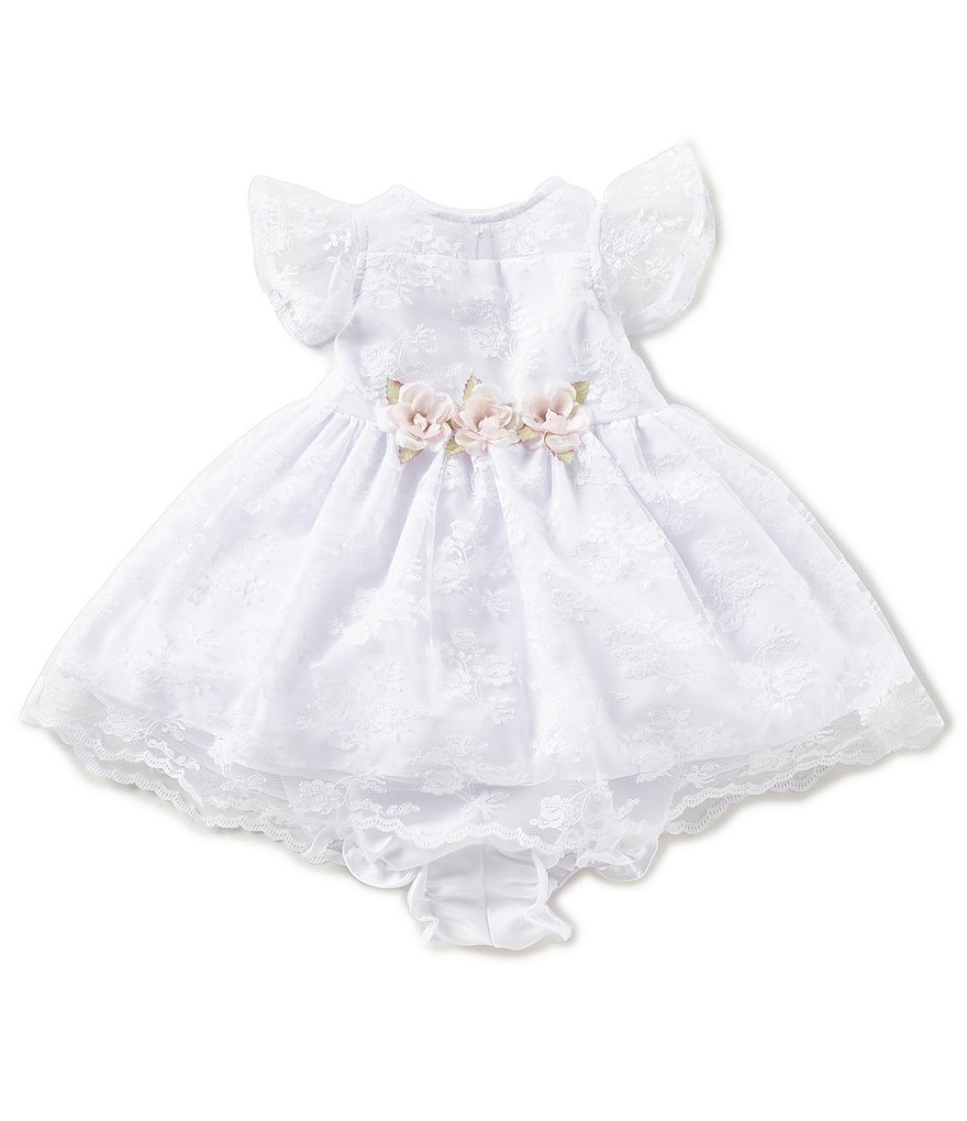 Laura Ashley London Baby Girls Newborn-24 Months Lace Floral-Applique Dress