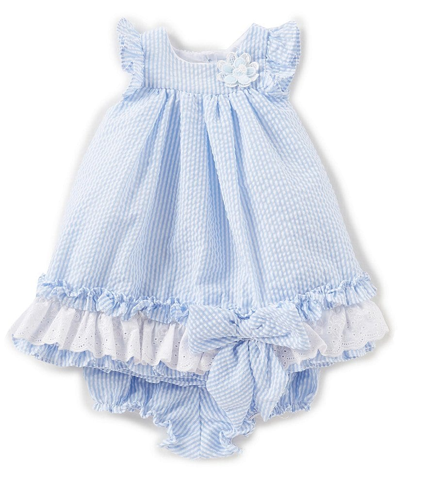 Laura Ashley London Baby Girls Newborn-24 Months Seersucker Flutter-Sleeve Ruffle Dress