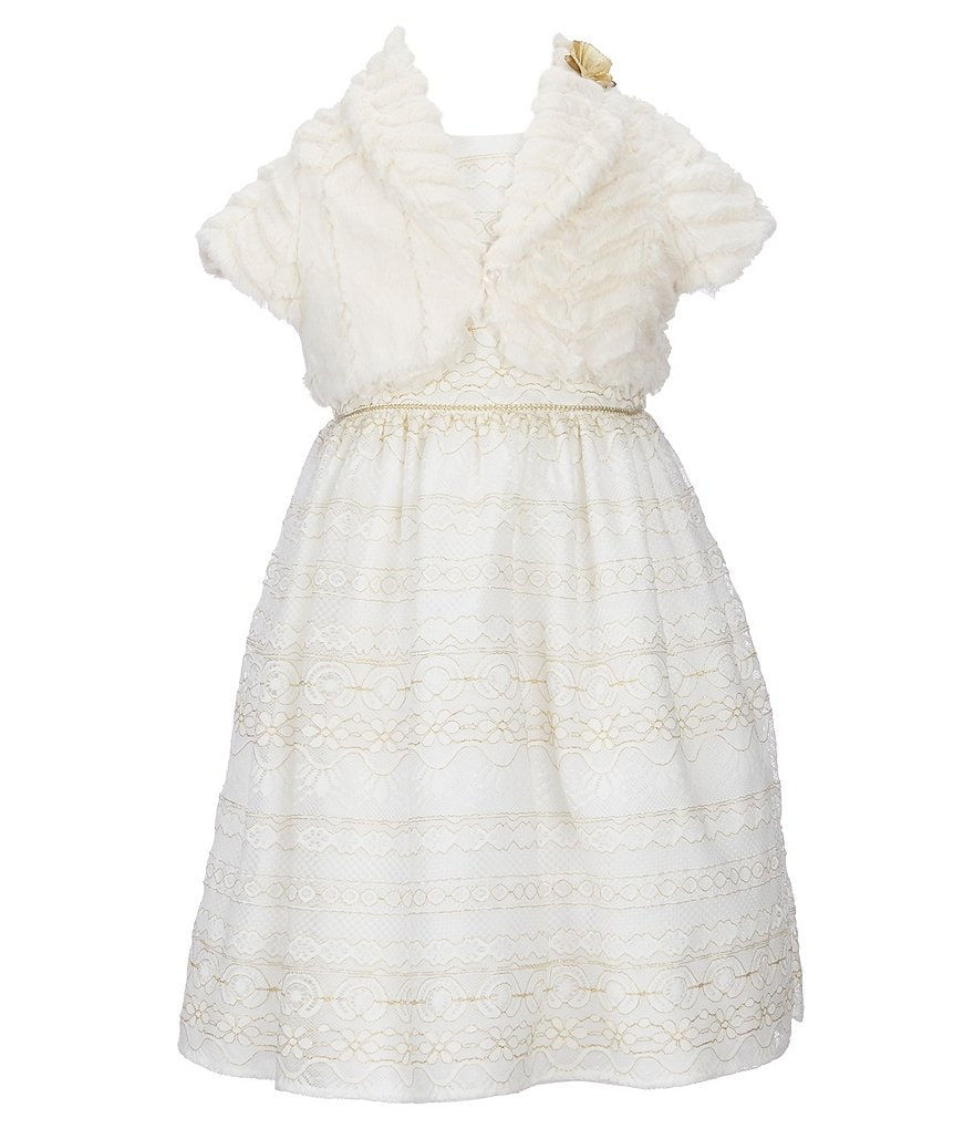 Laura Ashley Little Girls 2T-6X Faux-Fur Cropped Cardigan & Lace A-Line Dress