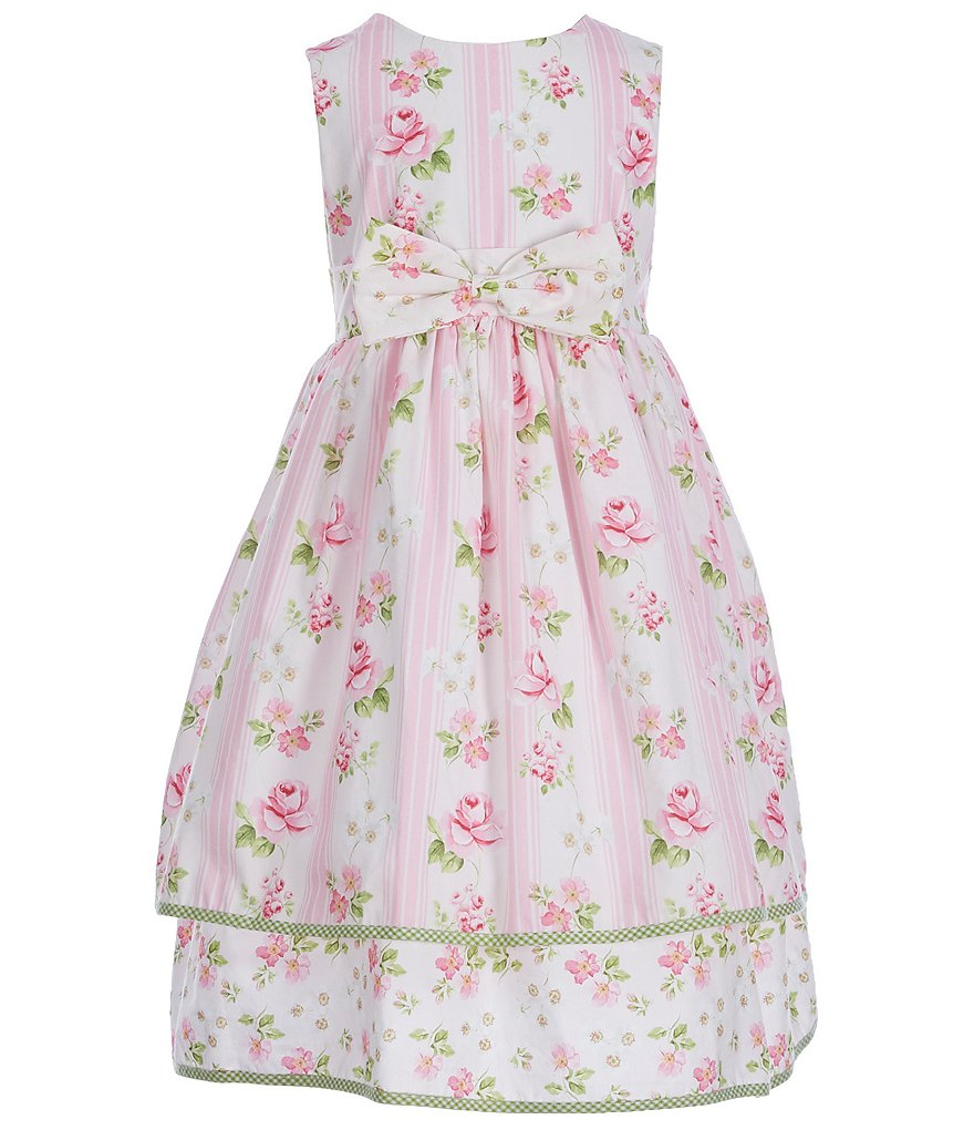 Laura Ashley London Little Girls 2T-6X Sleeveless Floral/Striped Dress