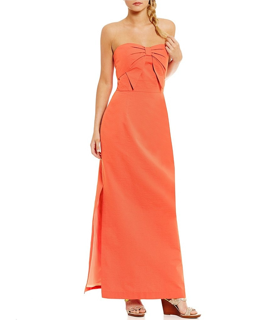 Lauren James Ashley Strapless Bow Maxi Dress
