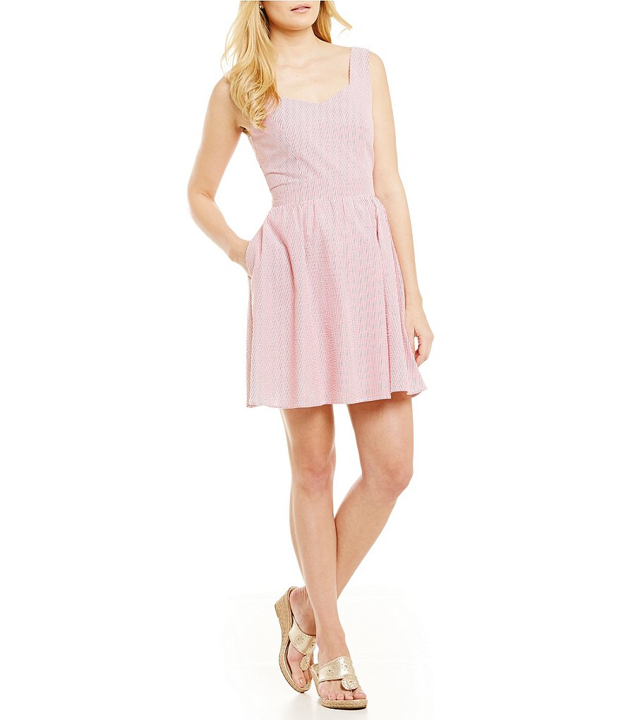 Lauren James Garrison Bow-Back Seersucker Dress