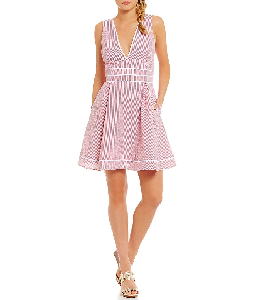 Lauren James Morgan Striped Seersucker Deep-V-Neck Bow Back Fit-and-Flare Dress