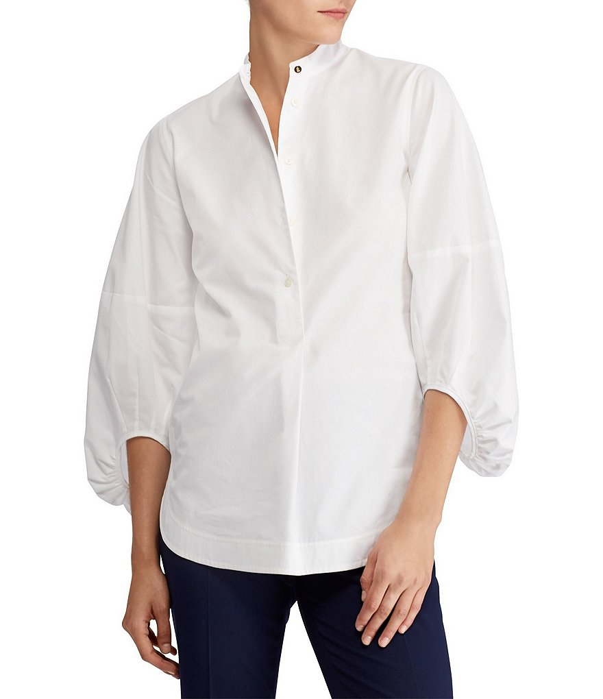 Lauren Ralph Lauren Balloon Sleeve Broadcloth Novelty Shirting Blouse