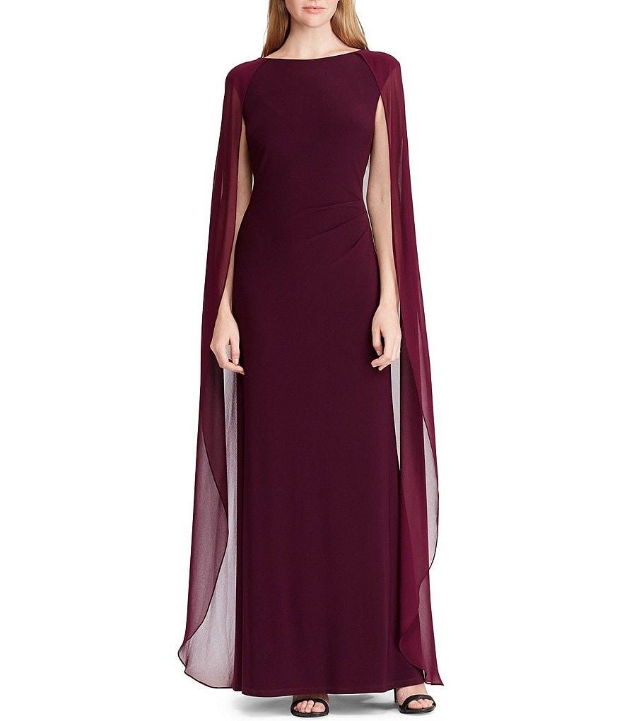 Lauren Ralph Lauren Chiffon Cape Jersey Gown