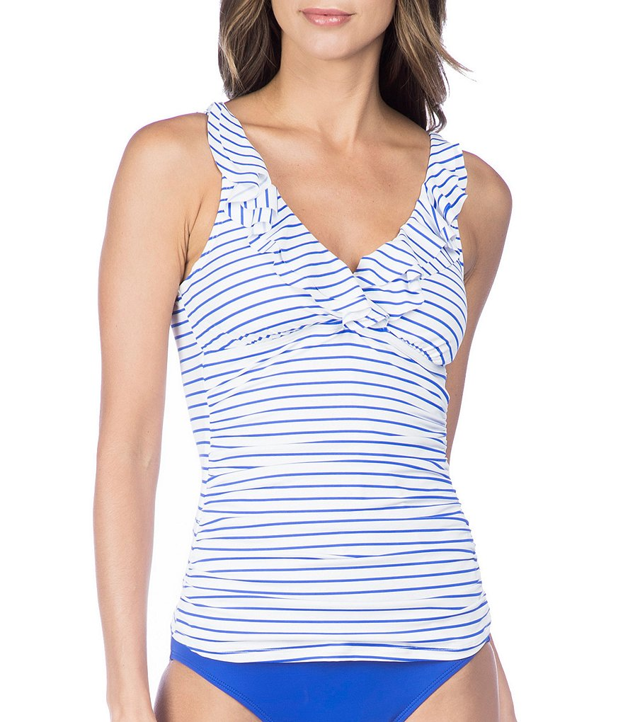Lauren Ralph Lauren City Stripe Slimming Fit Ruffled Underwire Tankini Top