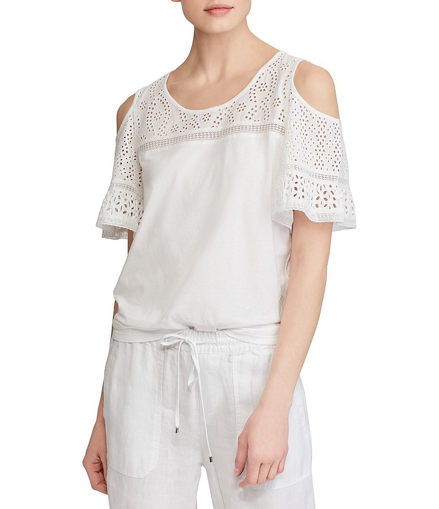 Lauren Ralph Lauren Cold Shoulder Eyelet-Yoke Sleeve Jersey Top