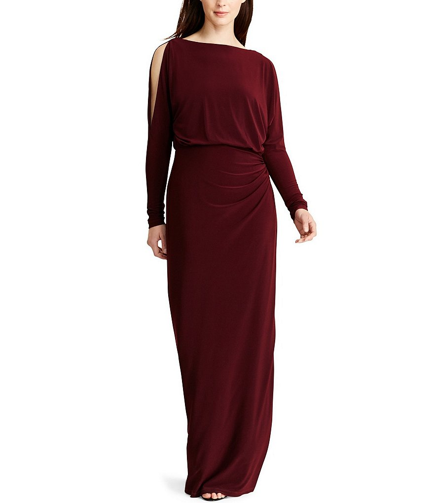 Lauren Ralph Lauren Cold-Shoulder Long Sleeve Georgette Gown