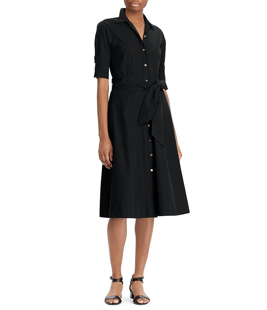 Lauren Ralph Lauren Cotton Poplin Midi Shirtdress