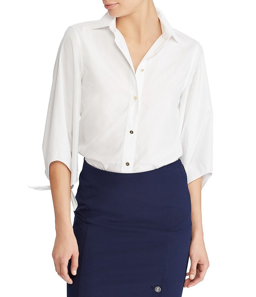 Lauren Ralph Lauren Cotton Tie-Sleeve Novelty Shirting Blouse