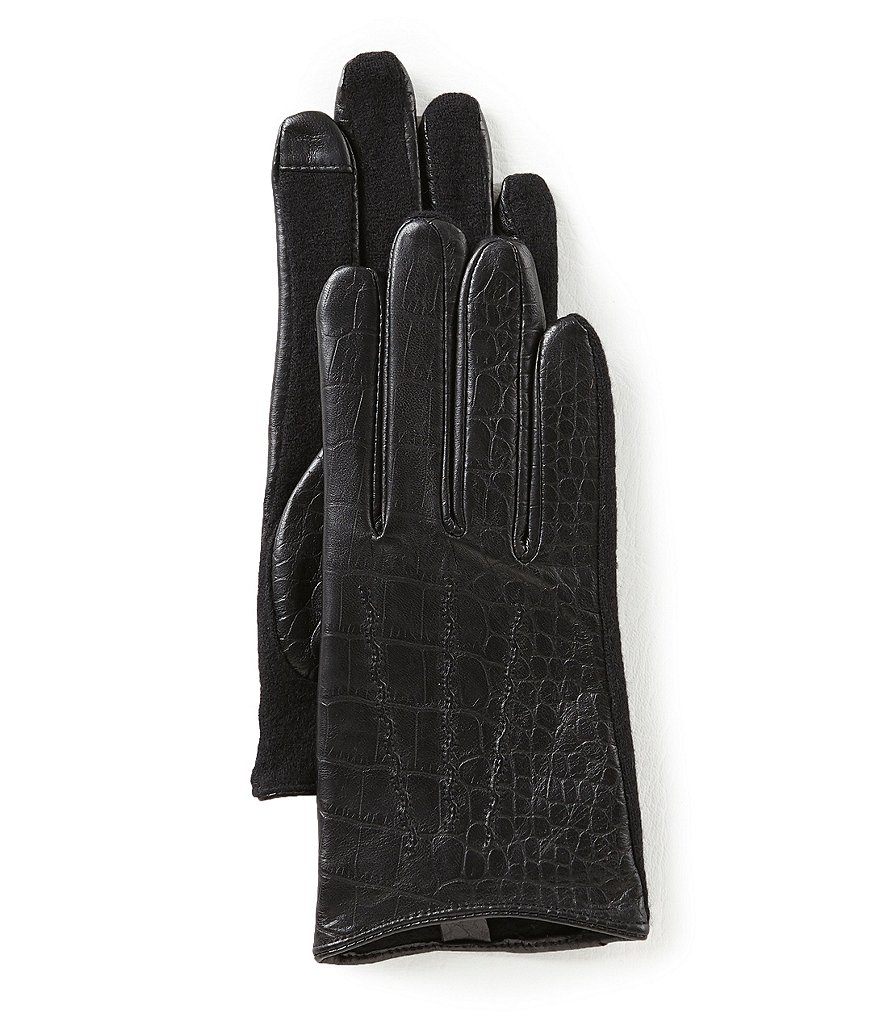Lauren Ralph Lauren Crocodile-Embossed Leather Touch Gloves