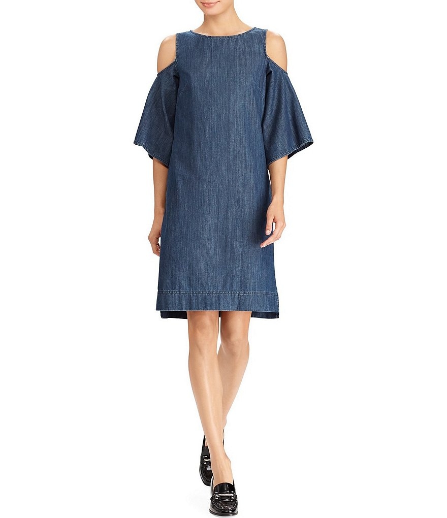 Lauren Ralph Lauren Denim Cutout-Shoulder Dress