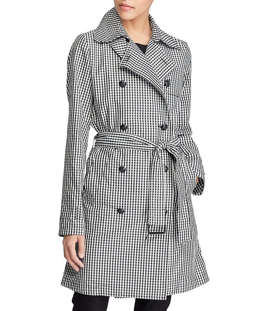 Lauren Ralph Lauren Double-Breasted Belted Gingham Twill Trench Coat