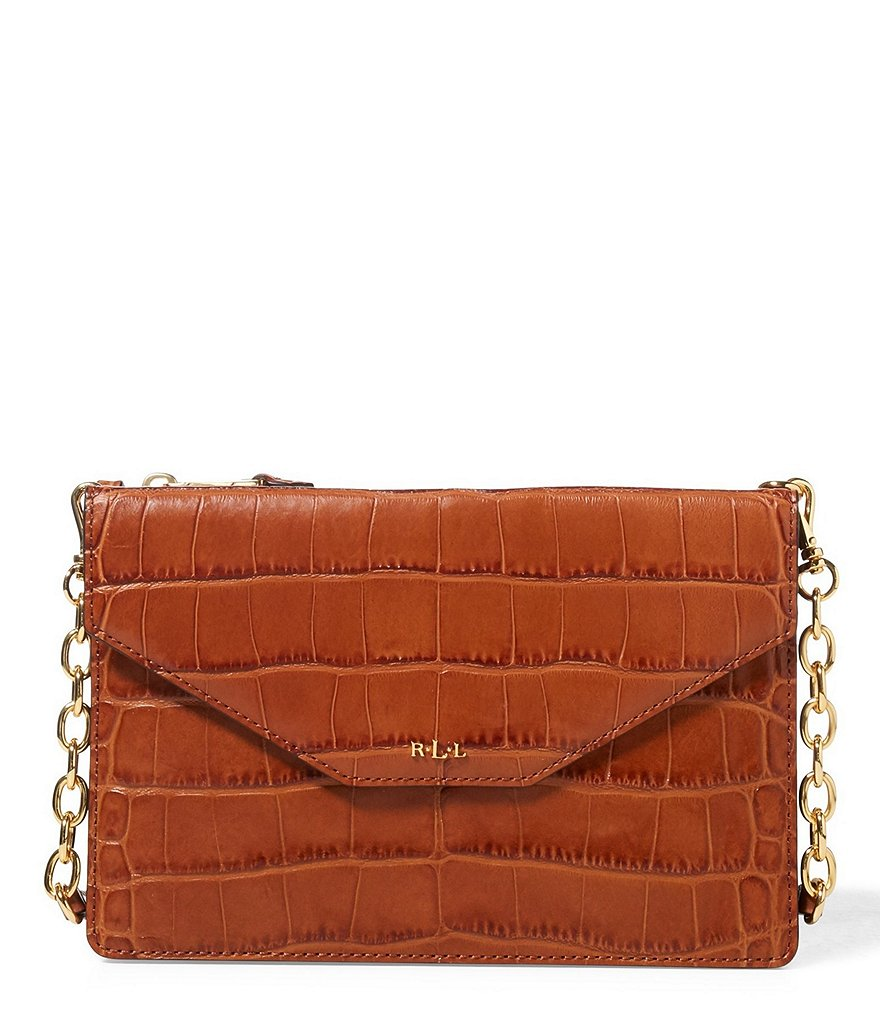 Lauren Ralph Lauren Erika Croc-Embossed Cross-Body Bag