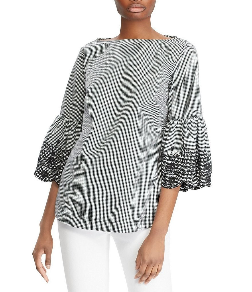 Lauren Ralph Lauren Eyelet-Embroidered Ruffle Sleeve Gingham Print Novelty Shirting Top