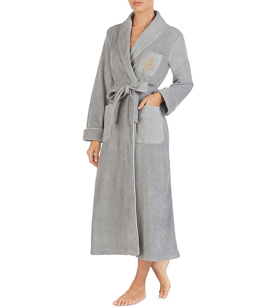 Lauren Ralph Lauren Fleece Shawl Collar Long Wrap Robe