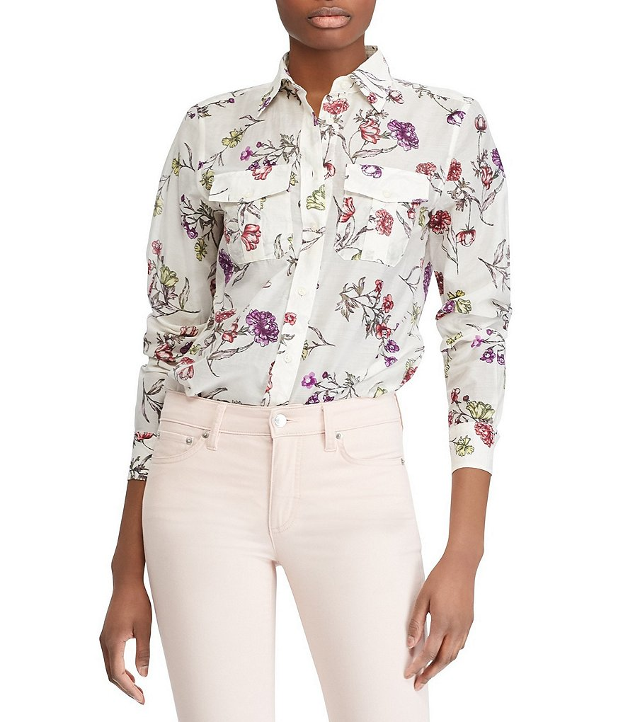 Lauren Ralph Lauren Floral Print Cotton-Blend Shirt
