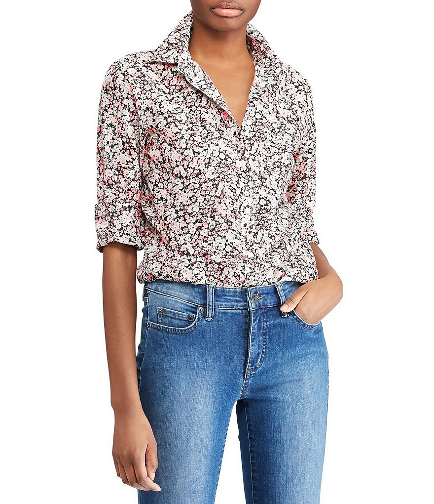 Lauren Ralph Lauren Floral Print Cotton-Silk Shirt
