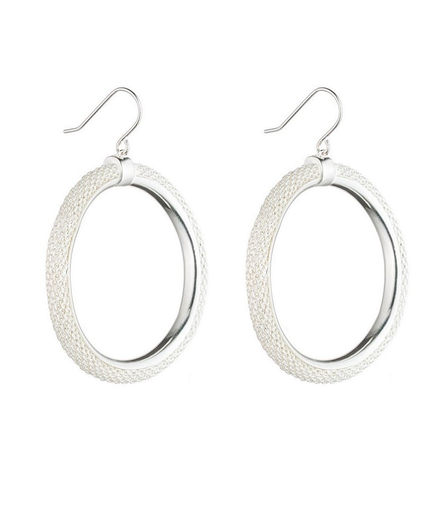 Lauren Ralph Lauren Frozen Mesh Drop Hoop Earrings