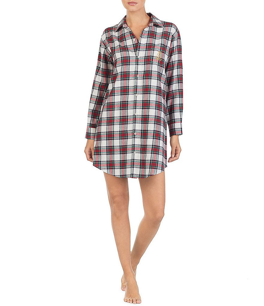 Lauren Ralph Lauren His Shirt Plaid-Print Brushed Twill Sleepshirt