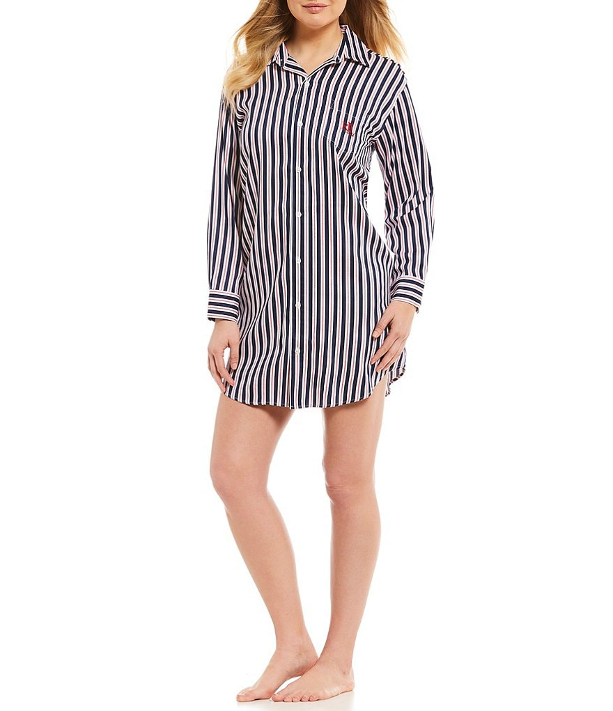 Lauren Ralph Lauren His Shirt Striped Sateen Sleepshirt