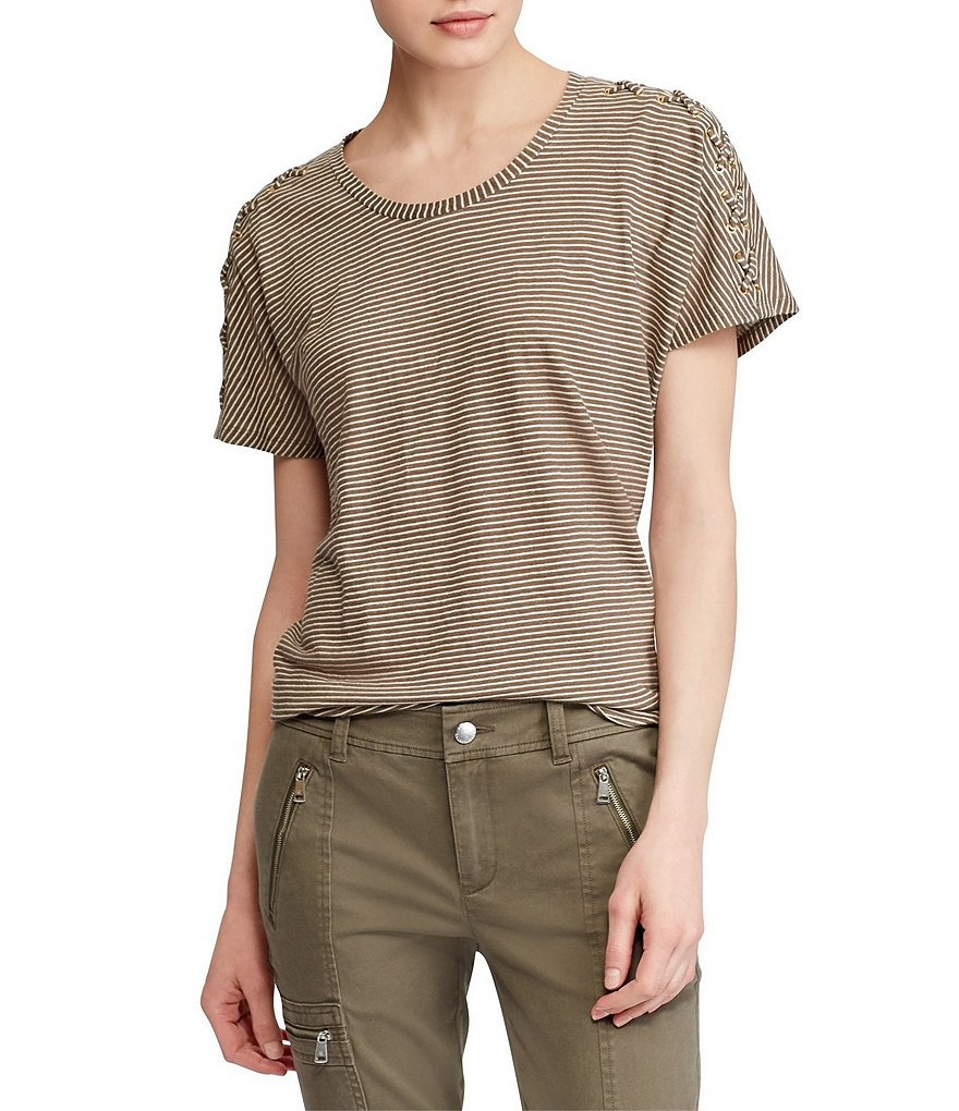 Lauren Ralph Lauren Lace-Up Sleeve Striped Linen T-Shirt