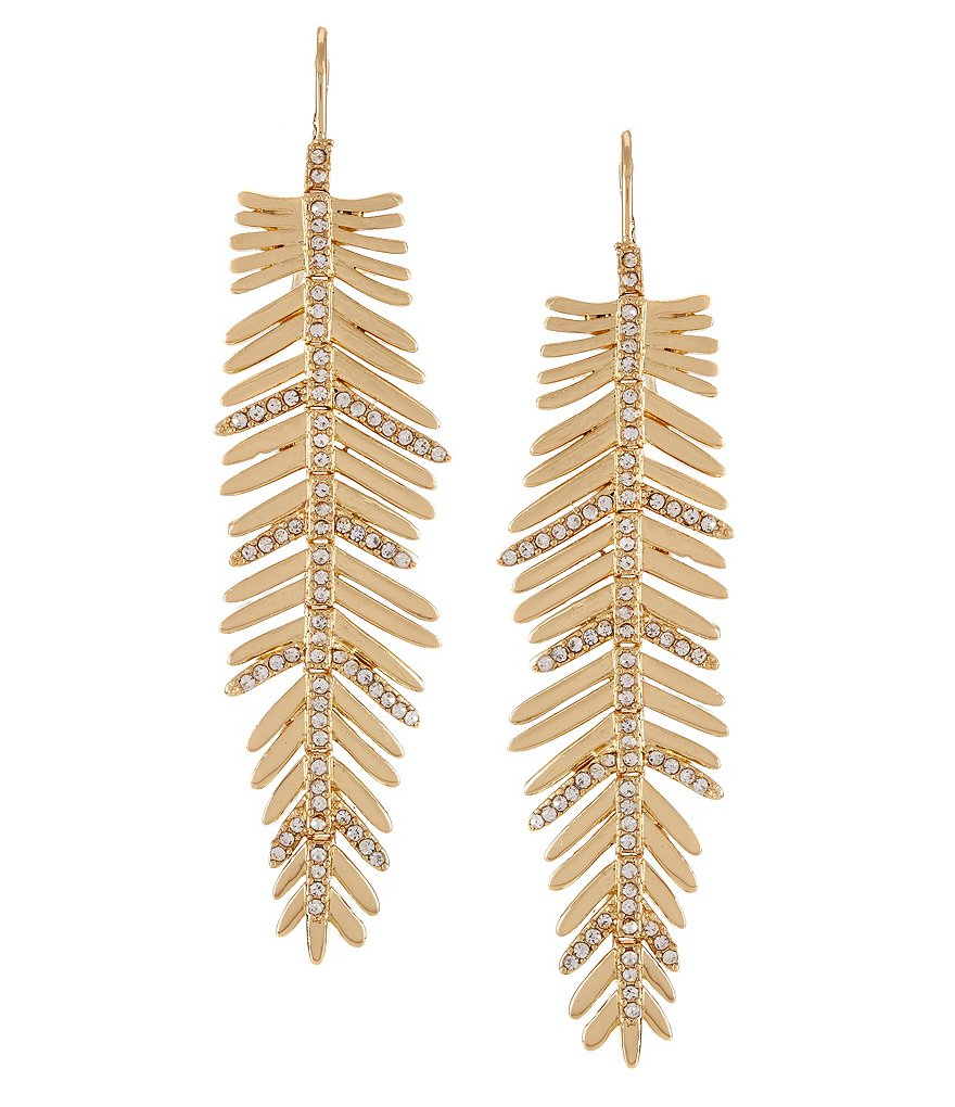 Lauren Ralph Lauren Pavé Feather Linear Drop Statement Earrings