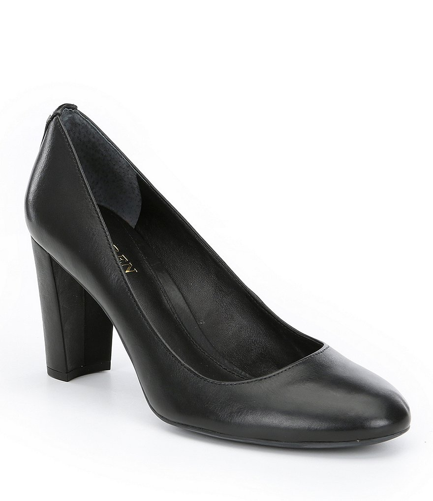 Lauren Ralph Lauren Maddie Leather Block Heel Pumps