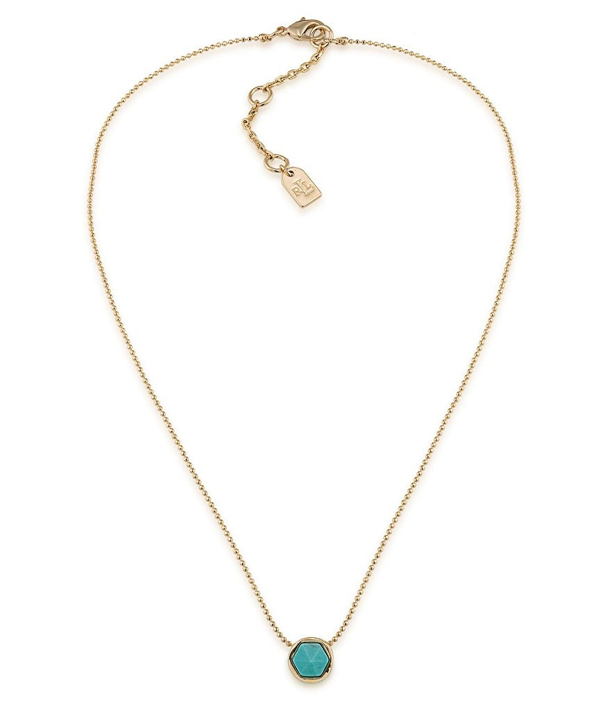 Lauren Ralph Lauren Match Point Turquoise Pendant Necklace