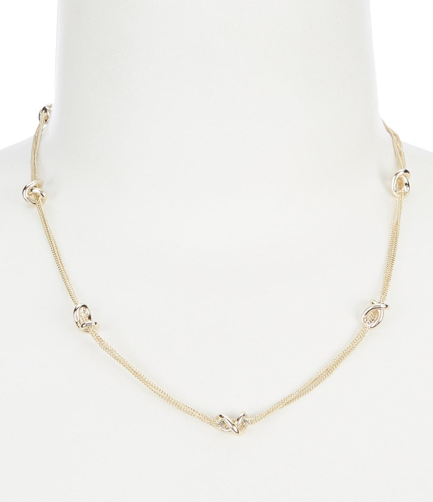 Lauren Ralph Lauren Metal Knot Station Necklace