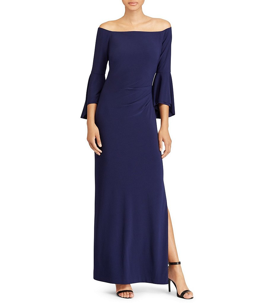 Lauren Ralph Lauren Off-the-Shoulder Bell Sleeve Jersey Gown