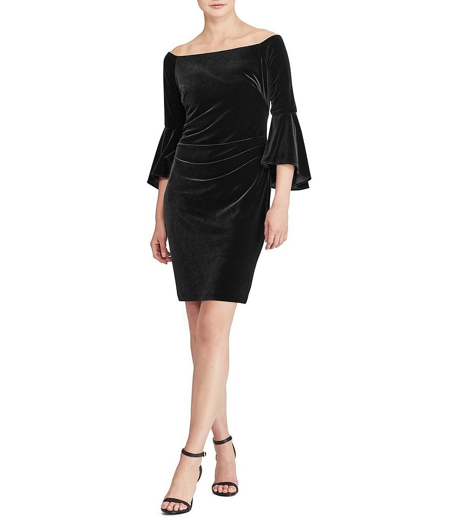 Lauren Ralph Lauren Off-the-Shoulder Velvet Dress