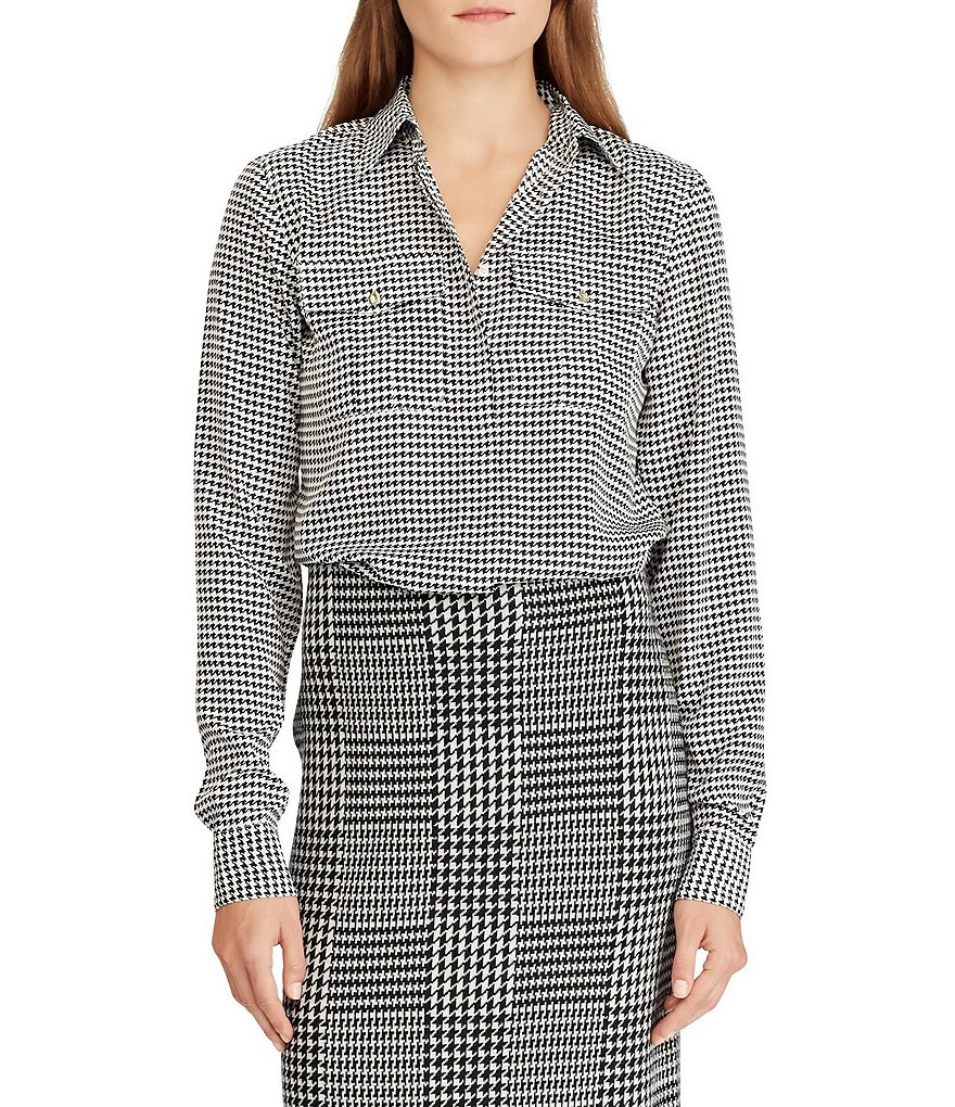 Lauren Ralph Lauren Petite Size Houndstooth Crepe Point Collar Long Sleeve Shirt