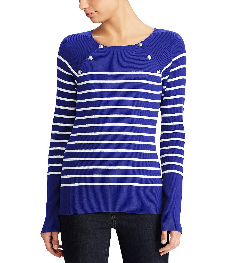Lauren Ralph Lauren Petite Striped Crewneck Sweater