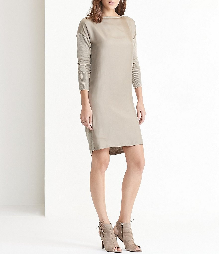 Lauren Ralph Lauren Petites Twill-Front Sweater Dress