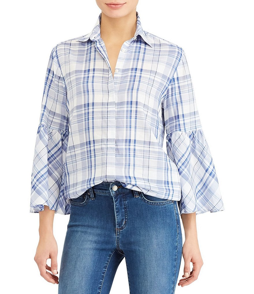 Lauren Ralph Lauren Plaid Bell-Sleeve Cotton Shirt