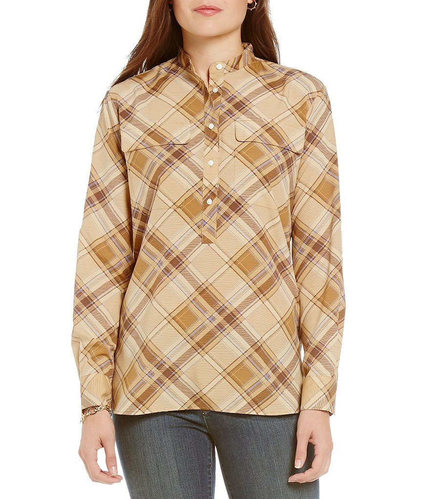 Lauren Ralph Lauren Plaid Crepe Band Collar Tunic