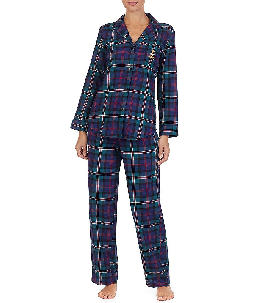 Lauren Ralph Lauren Plaid-Print Brushed Twill Pajamas