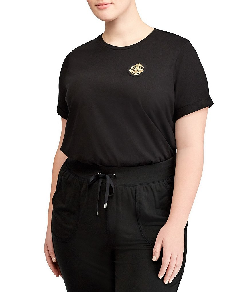 Lauren Ralph Lauren Plus Bullion-Patch Cotton T-Shirt