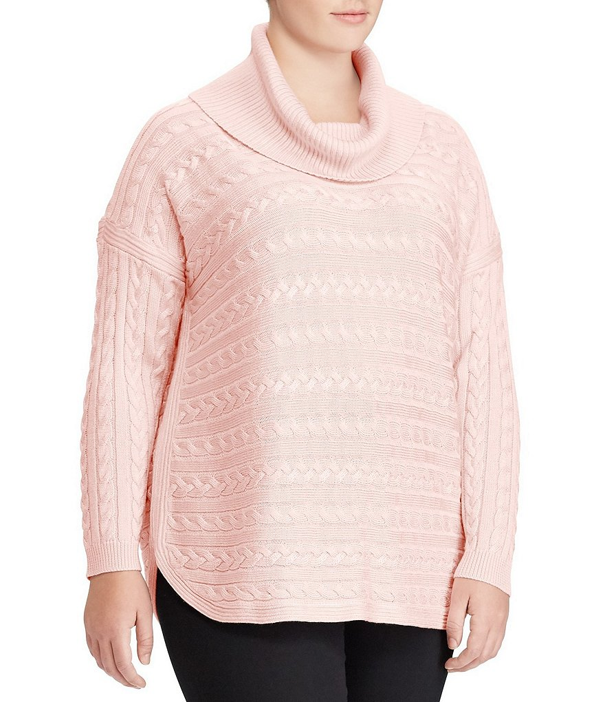 Lauren Ralph Lauren Plus Cable-Knit Funnelneck Sweater | Dillards