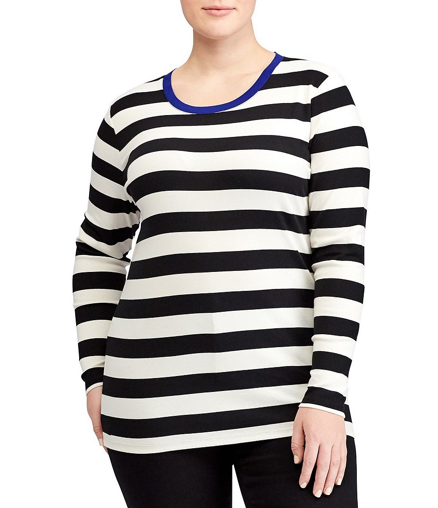 Lauren Ralph Lauren Plus Contrast Collar Striped T-Shirt