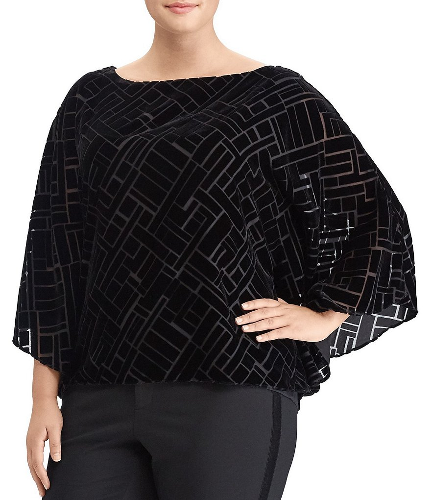 Lauren Ralph Lauren Plus Deco Burnout Velvet Top
