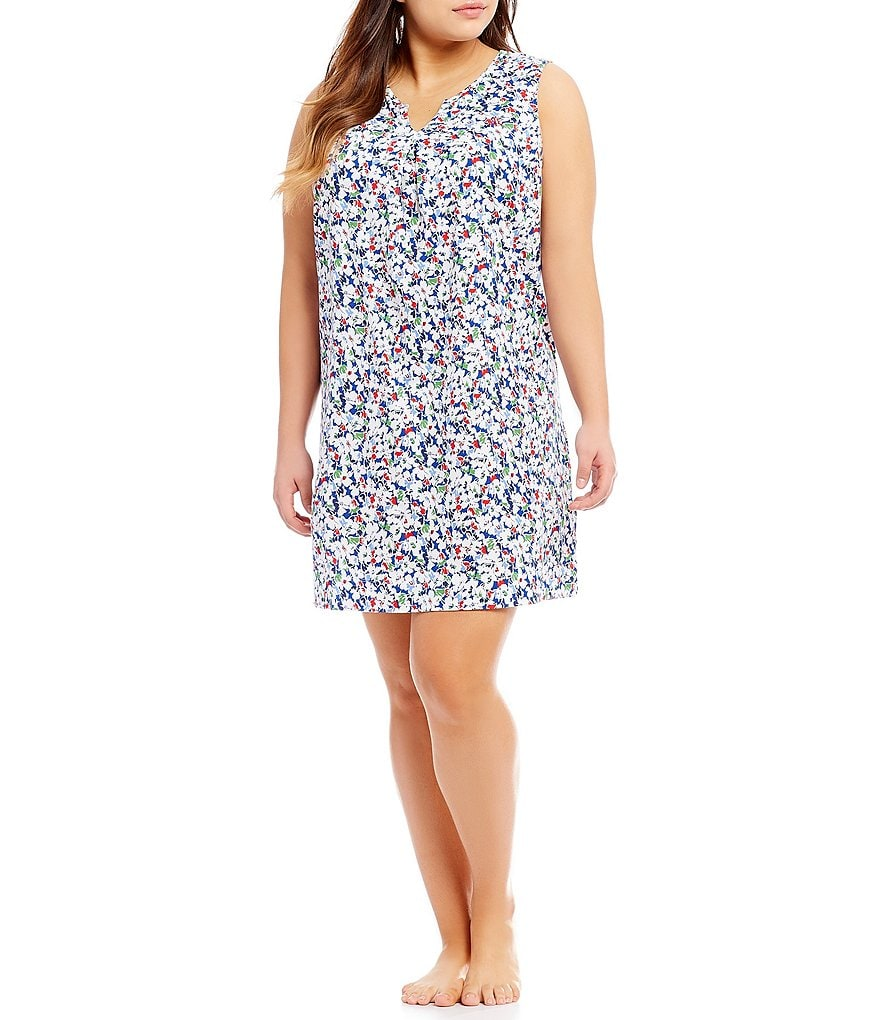 Lauren Ralph Lauren Plus Floral Jersey Nightgown